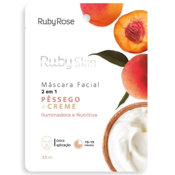 Máscara Facial Pêssego + Creme Ruby Rose 25ml
